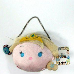 Disney Frozen Elsa tsum tsum Yellow Plush Purse Bag Chain Strap w/ Stitch Charm